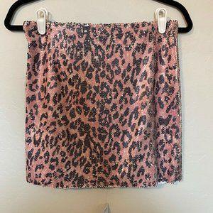 NWT Free People Pink Leopard Print Mini Skirt Sz 2
